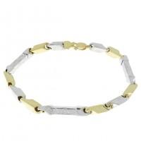 Золотой браслет, желтое и белое золото 21,5 см