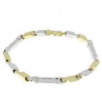 צמיד לגבר, זהב צהוב ולבן 21.5 ס``מ