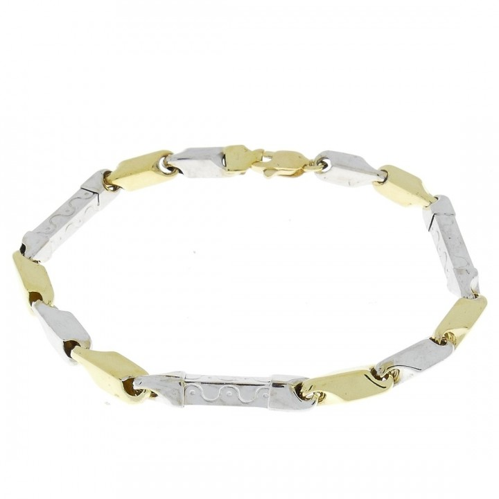Gold bracelet, yellow and white gold 21.5 cm