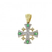 Золотая подвеска - Иерусалимский крест, золото с бриллиантами