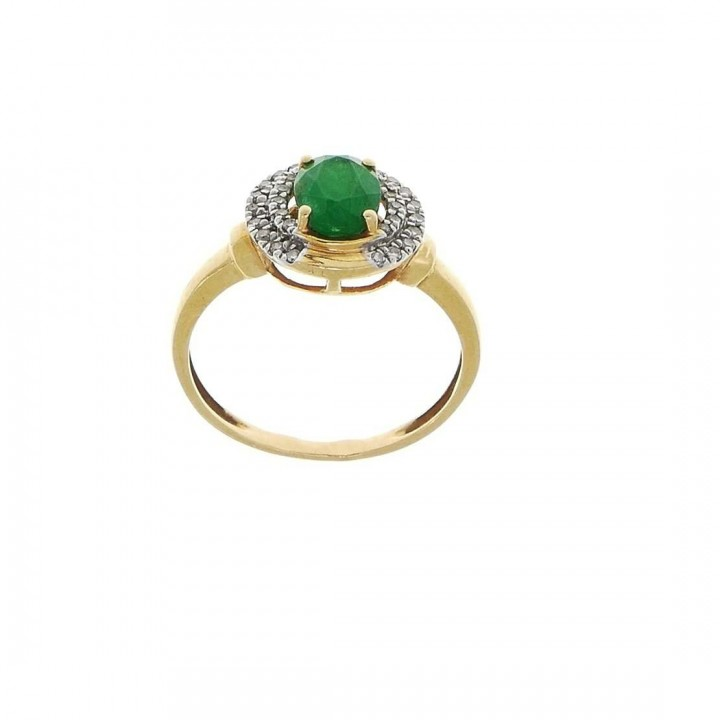 Ring for women, 14k yellow gold with diamonds and emerald