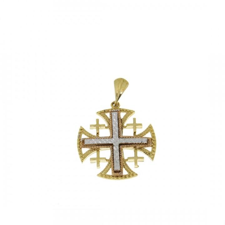 Золотая подвеска - Иерусалимский крест, желтое и белое золото, вес 4,38 гр