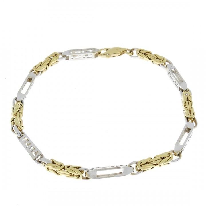 Золотой браслет, желтое и белое золото, длина 22 см