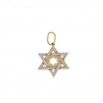 Золотая подвеска - звезда Давида, желтое золото, вес 2,11 грамм