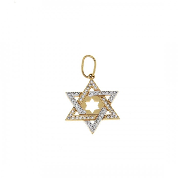 Gold pendant - star of David, yellow gold, weight 2,11 gram