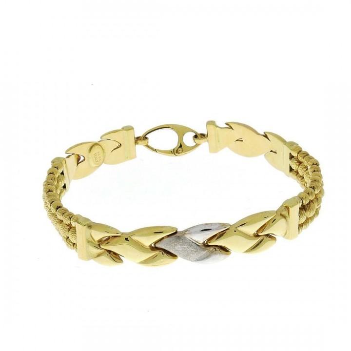 Золотой браслет, желтое и белое золото, вес 14,69 грамма