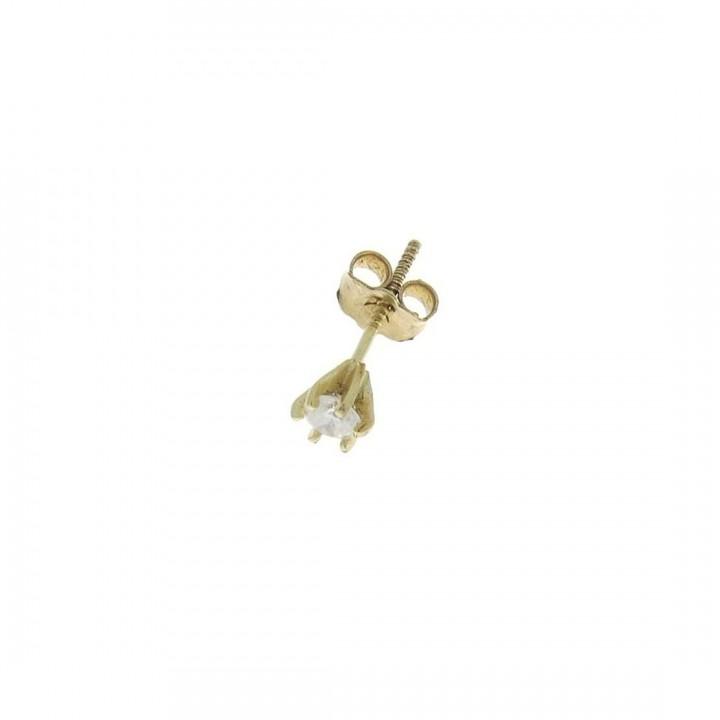 Золотая серьга для мужчин с бриллиантом, вес 0,46 грамма