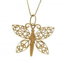 Кулон для женщины - бабочка, желтое золото, вес 3,56 грамма