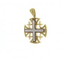 Золотая подвеска - Иерусалимский крест, желтое и белое золото, вес 10,02 гр