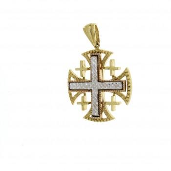 Золотая подвеска - Иерусалимский крест, желтое и белое золото
