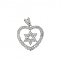 Gold pendant - star of David, white gold with diamonds, weight 3 grams