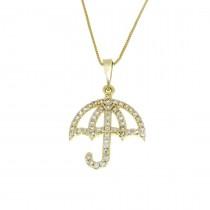 Кулон для женщины - зонтик, желтое золото с цирконием, вес 1,22 грамма