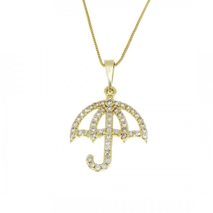 Pendant for woman - umbrella, yellow gold with zirconium, weight 1.22 grams