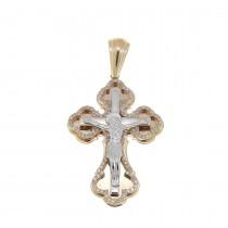 Золотая подвеска - Крест, красное золото с бриллиантами, вес 9,46 гр