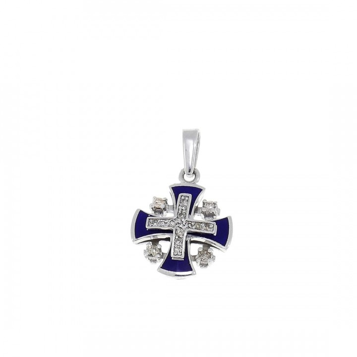 Золотая подвеска - Иерусалимский крест, белое золото с бриллиантами, вес 1,91 грамма