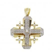 תליון זהב - צלב ירושלים, זהב צהוב עם יהלומים, משקל 15,23 גרם