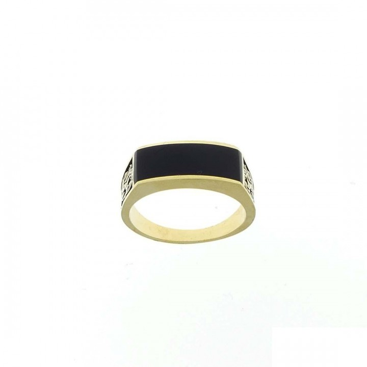 Gold men`s ring, yellow gold with black onyx