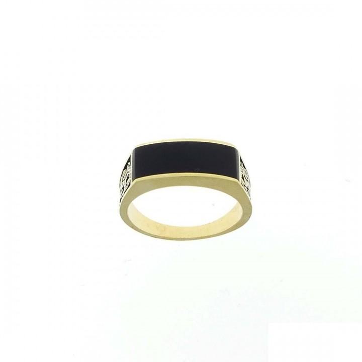 Золотое мужское кольцо, желтое золото с черным ониксом