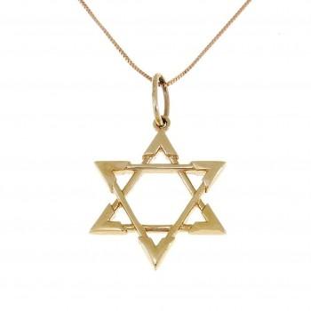 Золотая подвеска - звезда Давида, желтое золото, вес 1,64 грамма