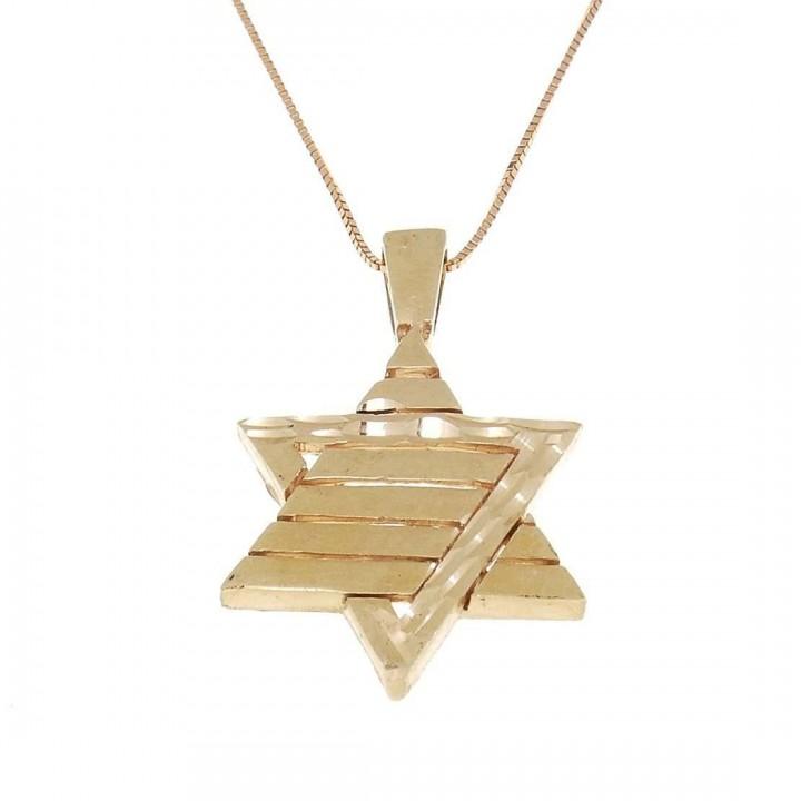 Золотая подвеска - звезда Давида, красное золото, вес 3,02 грамм