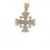 Золотая подвеска - Иерусалимский крест, красное золото с бриллиантами, вес 3,89 грамма
