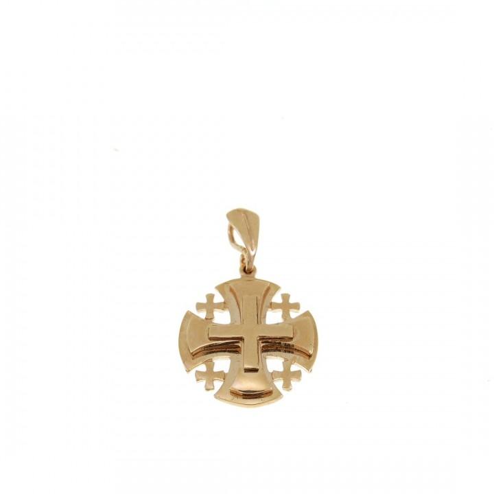 Золотая подвеска - Иерусалимский крест, желтое золото, вес 3,86 гр