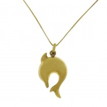 Кулон для женщины - дельфин, желтое золото, вес 1,28 грамма