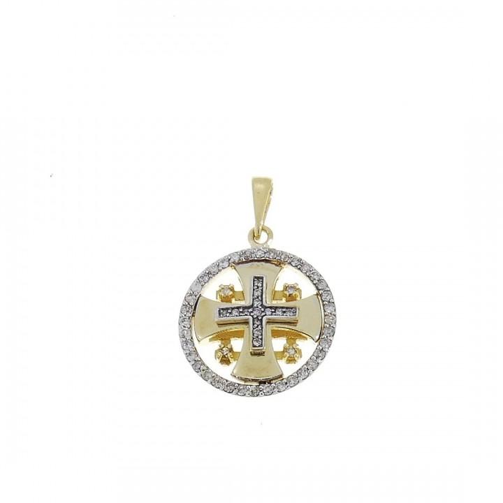 Золотая подвеска - Иерусалимский крест, желтое золото с бриллиантами, вес 2,53 грамма