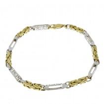 צמיד לגבר, זהב צהוב ולבן, אורך 22 ס``מ