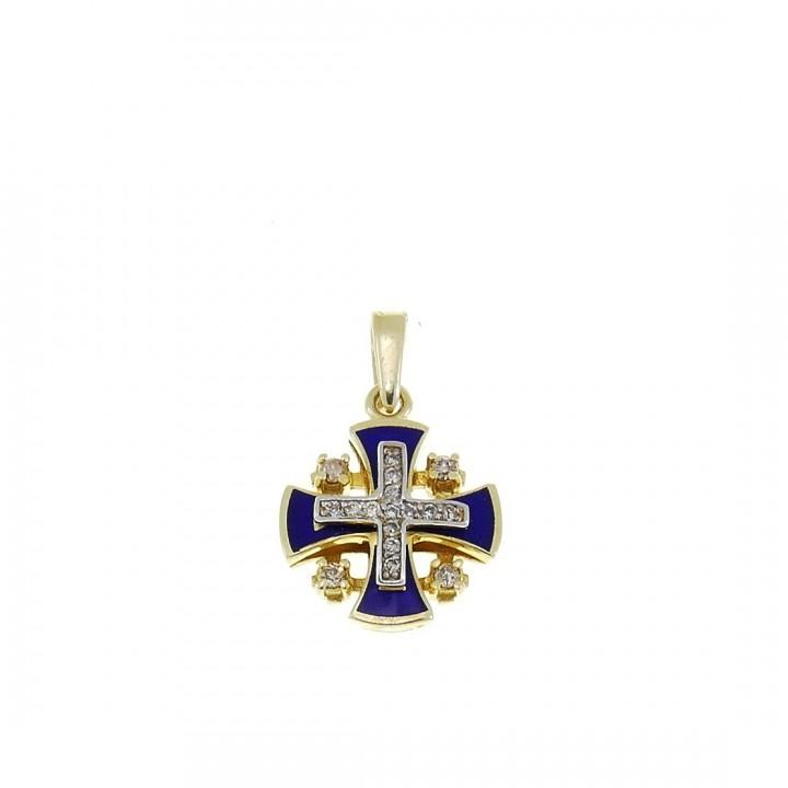 Золотая подвеска - Иерусалимский крест, желтое золото с бриллиантами, вес 1,91 грамма