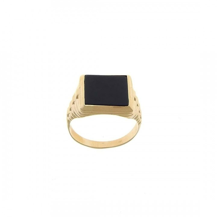 Gold men`s ring, red gold with onyx