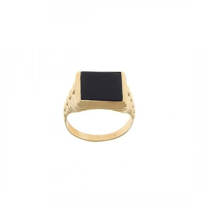 Золотое мужское кольцо, красное золото с ониксом