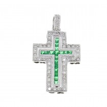 Gold pendant - Cross, white gold with diamonds and emeralds, weight 5.13 g