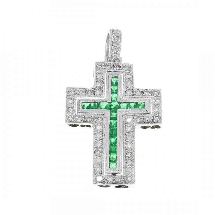 Золотая подвеска - Крест, белое золото с бриллиантами и изумрудами, вес 5,13 гр