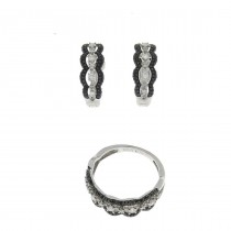 Women's set - ring and earrings, white gold with diamonds