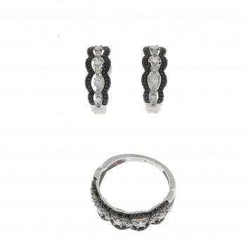 Набор для женщины - кольцо и серьги, белое золото с  бриллиантами