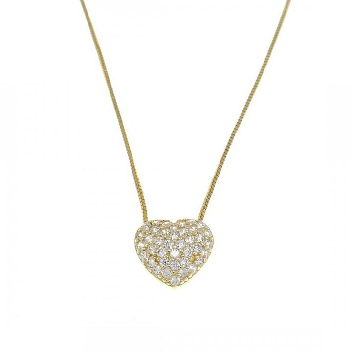 Кулон для женщины с цепочкой, желтое золото с белым цирконием, вес 1,63 грамма