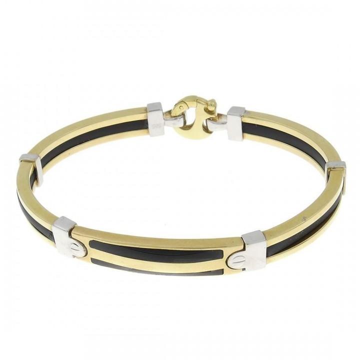 Золотой браслет, желтое золото и каучук, диаметр 7 см