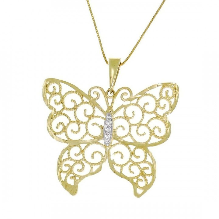 Кулон для женщины - бабочка, желтое золото, вес 2,76 грамма