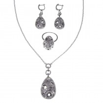 Set for women - ring, earrings, pendant, chain, white gold with diamonds
