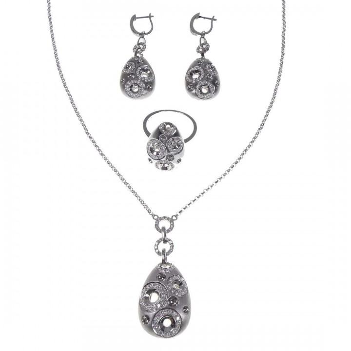 Набор для женщины - кольцо, серьги, кулон, цепочка, белое золото с бриллиантами