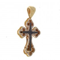 Gold pendant - Cross, red gold with diamonds, weight 5.25 grams
