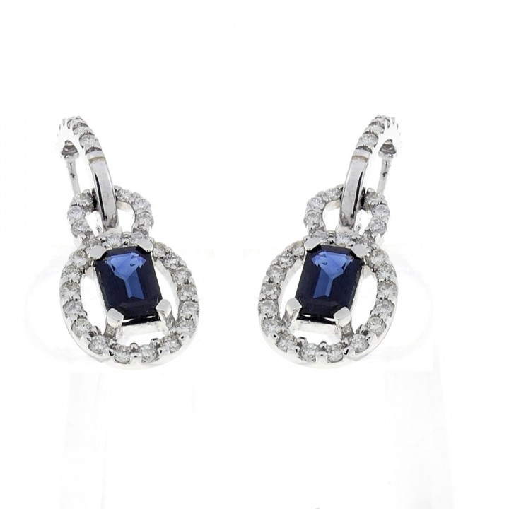 Gold earrings with white diamonds and sapphire, white gold