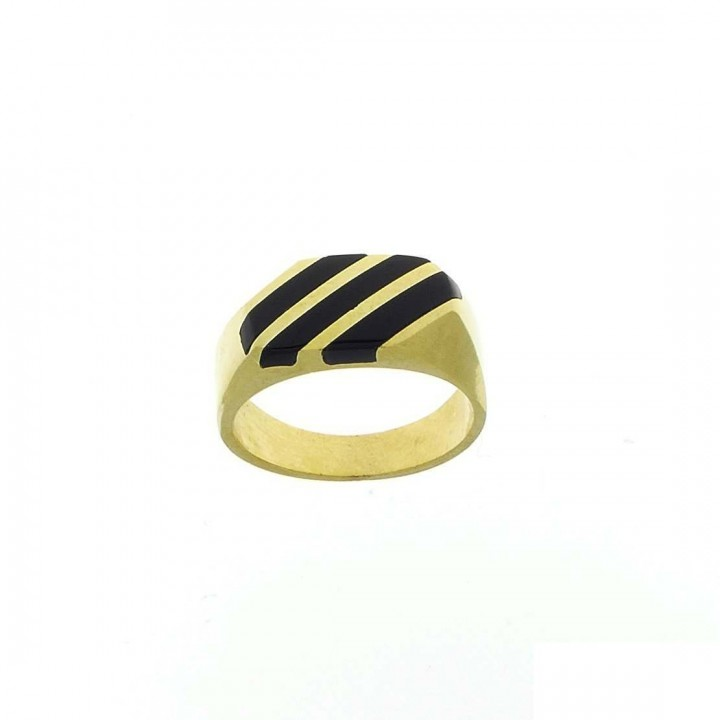 Ring for men, 14K yellow gold with onyx