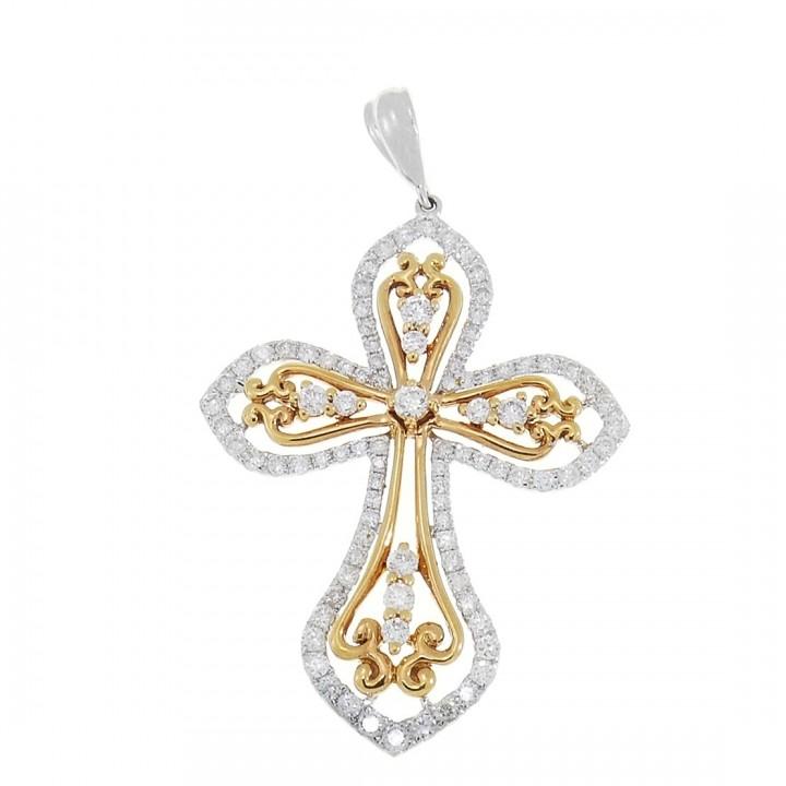 Золотая подвеска - Крест, белое и красное золото с бриллиантами, вес 4,43 грамма