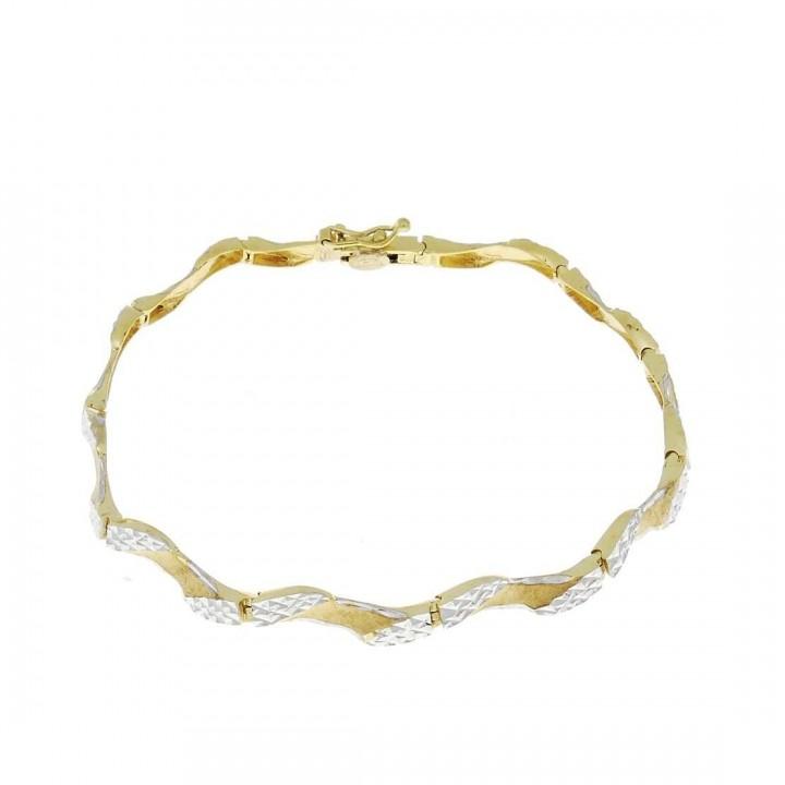 Золотой браслет, желтое и белое золото, вес 9,09 грамма