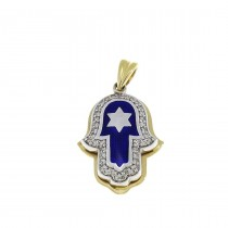 Gold pendant - Hamsa, yellow and white gold with diamonds, weight 4.2 grams