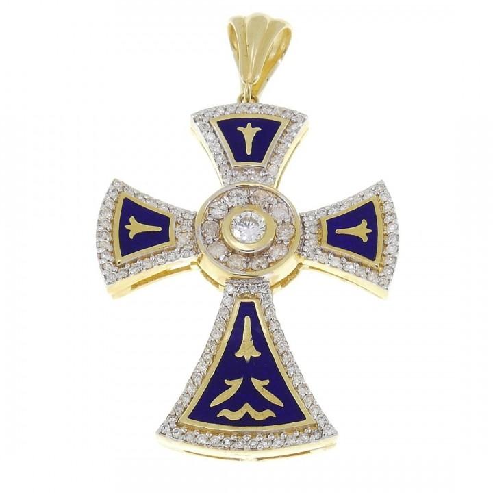 Золотая подвеска - Крест, желтое золото с 125 бриллиантами, вес 16 гр