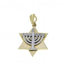 Gold pendant - star of David and Menorah, yellow gold with diamonds, weight 3,79 grams