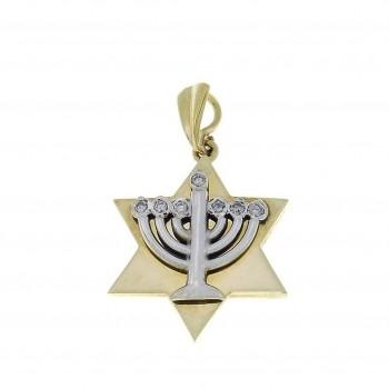 Gold pendant - star of David and Menorah, yellow gold with diamonds, weight 3,79 grams